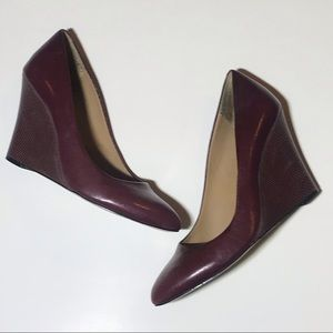 Ann Taylor Burgandy Wine Red Leather Wedge Heel 8